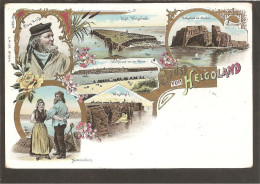 Helgoland. Litho Vorläufer 1899. Insel. Von Norden. Claus Krüfs. Nationaltanz. Westküste - Helgoland