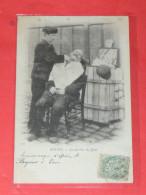 ROUEN    1902  METIER COIFFEUR  /   LE BARBIER DU QUAI   CIRC  OUI  EDITION - Rouen