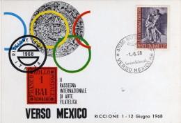 """Italia 1968 Riccione Mostra Filatelica """"Verso Mexico '68"""" Mondiali Di Calcio Annullo Cartolina - World Cup"""