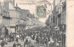 03-MONTLUCON- RUE DE LA REPUBLIQUE , UN JOUR DE MARCHE - Montlucon