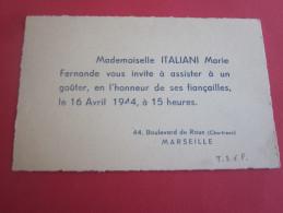 FAIRE PART DE FIANÇAILLES / CARTE DE VISITE -BD DE ROUX CHARTREUX MARSEILLE 1944 WW2 - Fiançailles