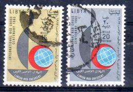 1963; Centenaire De La Croix-Rouge, YT 217 + 218, Oblitéré, Lot 45911 - Libië