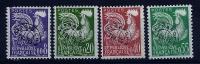 """Préo YT 119 à 122 """" Coq Gaulois  En Nouveau Franc """" 1960 Sans Gomme"""