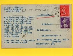 Type Semeuse Sur CP(Bauvin-62-Le Pont) Envoyée En 1928 De Billy-Berclau (62)pour L'Autriche - France