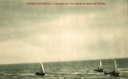 GUINEA ESPAÑOLA. CAYUCOS CON VELA LATINA EN AGUAS DE ELOBEY - Guinea Ecuatorial