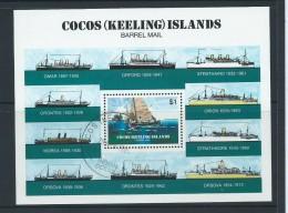 Cocos Keeling Island 1984 Barrel Ship & Boat Mail Miniature Sheet FU - Cocos (Keeling) Islands