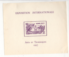 Fra677 Foglietto, Block, Feuillet, Guyane Fr. Guyana Francese, Expo Internationale Arts Et Techniques Paris 1937 - 1937 Exposition Internationale De Paris