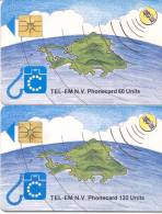 St. MAARTEN: STM-C1 & C2. The 2 First Chip TK. - Antilles (Netherlands)