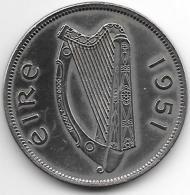 *ireland  1/2 Crown  1951   Km 16a  Xf+  Catalog Val 35,00$ - Irlanda
