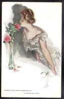 CPA ILLUSTRATEUR SIGNE HARRISON FISHER American Beauties Lady Belle Jeune Femme Fleurs Roses #259 - Fisher, Harrison