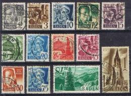 K 298 BADEN GESTEMPELD  YVERT NUMMERS 1/13 ZIE SCAN - Collections (sans Albums)