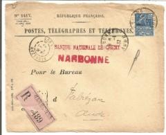 DEVANT DE LETTRE RECOMMANDEE DE NARBONNE POUR FABREZAN (AUDE) DU 1/1/1932 - 1921-1960: Période Moderne