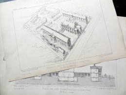 LE RECUEIL D´ARCHITECTURE (HOPITAUX) 1878 -  # 17 - HOSPICES DES VIEUX-MÉNAGES À LILLE (NORD) Mr MOURCOU Architecte - Architecture