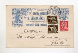 Italia - 1938- Cartolina Postale Della Famiglia Cooperativa Di San Bernardo Di Rabbi (Trento) - Mercanti