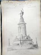 LE RECUEIL D´ARCHITECTURE 1878 -  # 5 - MONUMENT DE LA REPUBLIQUE, PROJET POUR LA VILLE DE LYON (RHONE) Mr COQUET Archit - Architecture