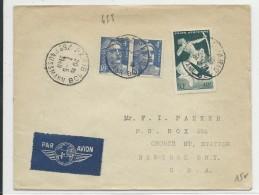 1948 - ENVELOPPE Par AVION De PARIS Pour NEW YORK (USA) - - Poste Aérienne