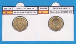 SPANJE / FRANCO   1  PESETA   1.966 #75  Aluminio-Bronce  KM#796     SC/UNC     T-DL-9281 - 1 Peseta