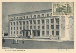 D24936 CARTE MAXIMUM CARD 1953 PORTUGAL - COIMBRA UNIVERSITY CP ORIGINAL - Architecture