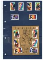 TIMBRES GRANDS INTERPRETES DE JAZZ  ++  AVEC BLOC ++  ET  COMMENTAIRES  ++  ANNEE 2002 - Marcophilie (Timbres Détachés)
