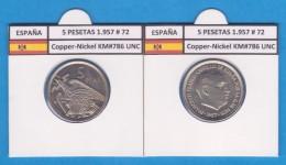 SPAIN / FRANCO   5  PESETAS   1.957 #72  CU NI  SC/UNC  KM#786     T-DL-9296 - 5 Pesetas