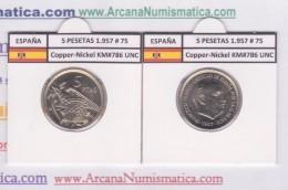 SPAIN / FRANCO   5  PESETAS   1.957 #75  CU NI  SC/UNC  KM#786     T-DL-9302 - 5 Pesetas
