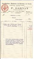 FACTURE F. DARNAY INGENIEUR CONSTRUCTEUR RUE COYPEL à PARIS 13 1932 - 1900 – 1949