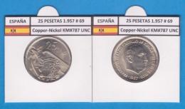 SPAIN / FRANCO   25  PESETAS   1.957 #69  CU NI  SC/UNC  KM#787     T-DL-9304 - 25 Pesetas