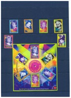 TIMBRES ARTISTES DE LA CHANSON   ++  AVEC BLOC ++  ET  COMMENTAIRES  ++  ANNEE 2001 - Marcophilie (Timbres Détachés)