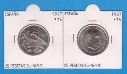 SPAIN / FRANCO   25  PESETAS   1.957 #75  CU NI  SC/UNC  KM#787     T-DL-9309 - 25 Pesetas