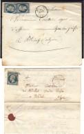 Agérie _ Blidah 2 Pieces_ 1 Lettre Complete 25c Bleu +  2 Sur Enveloppe - Algérie (1924-1962)