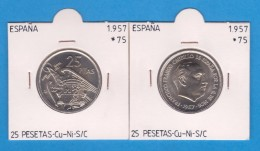 SPANJE / FRANCO   25  PESETAS   1.957 #75  CU NI  SC/UNC  KM#787     T-DL-9309 - 25 Peseta