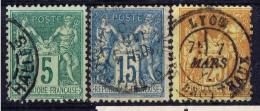 F+ Frankreich 1876 1878 1892 Mi 59 78 83 Symbole - 1876-1898 Sage (Type II)