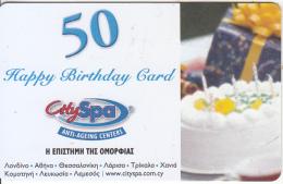 CYPRUS - City SPA Happy Birthday Card 50 Euro(matt Surface), Sample - Unclassified
