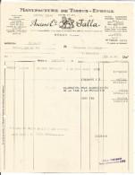 FACTURE + TRAITE ETS JALLA MANUFACTURE DE TISSUS EPONGE à REGNY (LOIRE) 1951 - Francia
