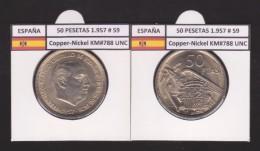 SPAIN/ FRANCO   50  PESETAS   1.957 #59  CU NI  SC/UNC  KM#788     T-DL-9319 - 50 Pesetas