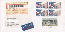 4373FM- MARSHALL PLAN, DEPUTIES CHAMBER BUILDING, STAMPS ON REGISTERED COVER, 1998, GERMANY - Storia Postale