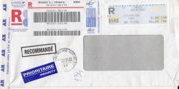 4400FM-AMOUNT 6.90, PARIS-SAINTONGE, MACHINE OVERPRINT STAMPS ON REGISTERED COVER, 2006, FRANCE - Storia Postale