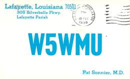 Amateur Radio QSL - W5WMU - Lafayette, LA -USA-1974 - 2 Scans - Radio Amateur
