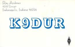 Amateur Radio QSL - K9DUR - Indianapolis, IN -USA- 1974 - 2 Scans - Radio Amateur