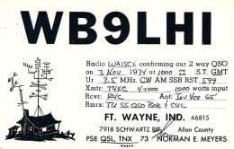 Amateur Radio QSL - WB9LHI - Ft. Wayne, IN -USA- 1974 - 2 Scans - Radio Amateur