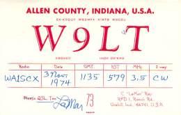 Amateur Radio QSL - W9LT - Grabill, IN -USA- 1974 - 2 Scans - Radio Amateur
