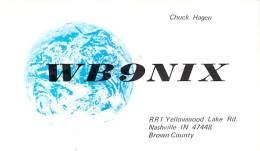 Amateur Radio QSL - WB9NIX - Nashville, IN -USA- 1974 - 2 Scans - Radio Amateur