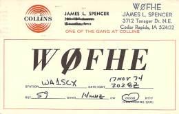 Amateur Radio QSL - W0FHE - Cedar Rapids, IA -USA- 1974 - 2 Scans - Radio Amateur