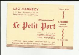 74 - Haute Savoie - Annecy - Avis De Passage -Le Petit Port - J.Chiabert -Hotel - Tél 8.43. - Visiting Cards
