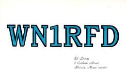 Amateur Radio QSL - WN1RFD - Sharon, MA -USA- 1974 - 2 Scans - Radio Amateur