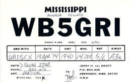 Amateur Radio QSL - WB5GRI - Aberdeen, MS -USA- 1974 - 2 Scans - Radio Amateur