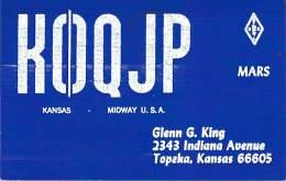 Amateur Radio QSL - K0QJP - Topeka, KS -USA- 1974 - 2 Scans - Radio Amateur
