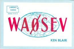 Amateur Radio QSL - WA0SEV - Lawrence, KS -USA- 1974 - 2 Scans - Radio Amateur