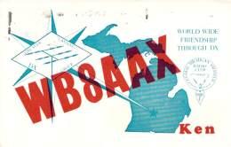Amateur Radio QSL - WB8AAX - Lansing, MI -USA- 1974 - 2 Scans - Radio Amateur