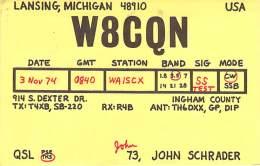 Amateur Radio QSL - W8CQN - Lansing, MI -USA- 1974 - 2 Scans - Radio Amateur